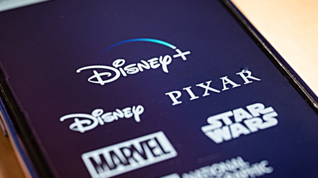 Barcelona, Spain. October 2019: Close up view of Disney plus on smartphone screen. Disney plus is an online video streaming subscription service, set to launch in the US in 2019.Illustrative editorial