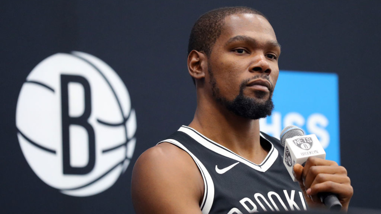 NEW YORK, NEW YORK - SEPTEMBER 27: Kevin Durant #7 of the Brooklyn Nets speaks to media during Brooklyn Nets Media Day at HSS Training Center on September 27, 2019 in the Brooklyn Borough of New York City. NOTE TO USER: User expressly acknowledges and agrees that, by downloading and or using this photograph, User is consenting to the terms and conditions of the Getty Images License Agreement. (Photo by Mike Lawrie/Getty Images)